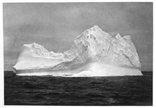 Iceberg seen on December 4, 1898.  On the extending tongue of ice is a colony of penguins. P. 216.In: Aus den Tiefen des Weltmeeres by Carl Chun, 1903. Call No. Q115.V15 1903.