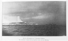 Ice berg seen on December 7, 1898.  The VALDIVIA shows the scale of these hugetabular icebergs.  The iceberg was at 55 47 South Latitude, 29 32 East Longitude.  P. 220.In: Aus den Tiefen des Weltmeeres by Carl Chun, 1903. Call No. Q115.V15 1903.