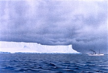 Iceberg seen on December 7, 1898.  Watercolor by F. Winter.  The VALDIVIA isdwarfed by the iceberg.In: Aus den Tiefen des Weltmeeres by Carl Chun, 1903. Call No. Q115.V15 1903.