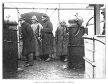 On the bridge in Antarctic waters.  These guys look cold!!!! In: Aus den Tiefen des Weltmeeres by Carl Chun, 1903. Call No. Q115.V15 1903.