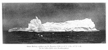 The last iceberg seen on the expedition on december 19, 1898, at 61 8 SouthLatitude, 61 25 East Longitude. A large wave is breaking against the face of the iceberg.In: Aus den Tiefen des Weltmeeres by Carl Chun, 1903. Call No. Q115.V15 1903.