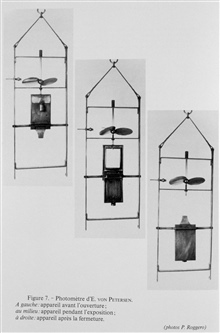 Figure 7.  E. von Petersen's photometer.  Left: device before opening.  Middle:device during exposure.  Right: device after closing.  This device was inventedin 1886 by Eugen von Petersen, an engineer at the Naples zoological station. The design foll