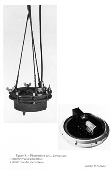 Figure 8.  L. Linsbauer's photometer.  Left: a picture of the unit.  Right:a picture of the internal photometer mechanism.  This instrument was invented byLudwig Linsbauer for use in fresh water.  It was used in Lake Traunsee in thenorthern part of A