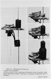 Figure 16.  J. Richard's photometer.  Left:  the apparatus.  Right, (from top tobottom):  exposure mechanism before opening; exposure mechanism during opening;exposure mechanism after opening.