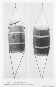 Figure 2.  Hales water sampling bottle.  This was designed by Reverend StephenHales about 1749 and used on H.M.S. EARL of HALIFAX in 1751 in depths rangingfrom 100 to 1600 meters.  Left: descending.  Right: ascending.