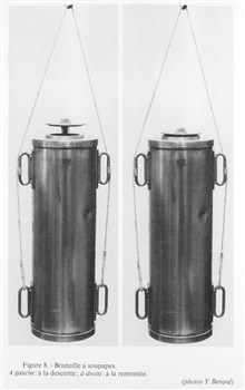 Figure 8.  Valve bottle assembled about 1860, inventor unknown.  Left: valve bottle descending.  Right:  Valve bottle ascending after obtaining sample.This bottle was constructed by Max Marx.
