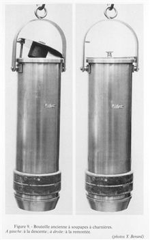 Figure 9.  Old hinged valve bottle; inventor unknown; date of first use unknown. This example was constructed by Max Marx.  Left:  Appearance on descent.  Right: after closing and ascending.