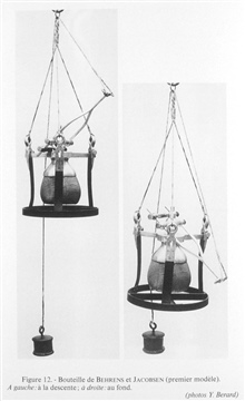 Figure 12.  Behrens and Jacobsen water sampling bottle invented by Doctor OscarJacobsen and Heinrich Behrens at the University of Kiel in 1872.  Water sampleswere recovered for study of dissolved gases during the POMMERANIA expedition tothe North Sea