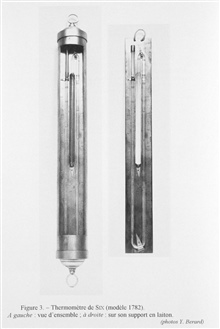 Figure 3.  Six's thermometer, 1782 model.  A little different from the examplein image ship 4282.  These, like the previous example, were actually constructed in 1912 by Negretti and Zambra for displaying to the public at the Oceanographic Museum.