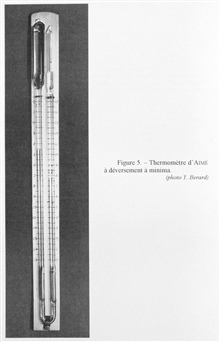 Figure 5.  Aime' minimum temperature recording thermometer presented to theAcademy of Sciences in Paris in 1844 and described by Aime' in 1845.  Thisinstrument differed little from the preceding but at a small point where thefluid enters into the res