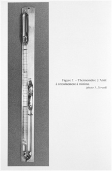 Figure 7.  Aime' minimum temperature recording thermometer. This thermometer wasdesigned to be made to turn over at the desired depth and retain the minimaltemperature reading at that depth while returning to the surface.  Aime' is theoriginator of t