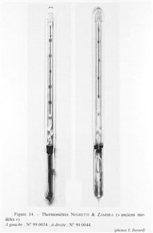 Figure 14.  Negretti and Zambra thermometers, older models.  These werereversing thermometers completely protected by an outer glass casing.  This type of thermometer was manufactured from 1878 until 1912.  The scales were graduated in degrees and ha