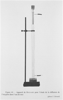 Figure 60.  Regnard apparatus for the study of the diffusion of oxygen in seawater.  Concerned with the diffusion of air in sea water in still water, DoctorPaul Regnard, a French physiologist, invented this device based on an experiment by Julien Tho
