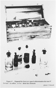 Figure 63.  Sorensen device for the determination of H+ ions.  This device which measured the pH of water by a colorimetric method was devised by theDanish chemists Soren Peter Lauritz Sorensen and Sven Palitsch and usedduring the Danish oceanographi