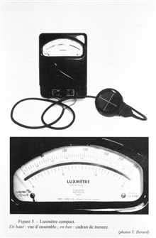 Figure 5. Compact luxmeter, used for study of light in air. Simplicity of design and use have joined with greater and greater precision of measurement in this mass-produced industry instrument.  Although apparently an instrument used inmeteorology, i