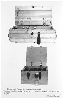 Figure 16. Cases of bottles for preserving water for salinity measurements. The bottles were placed in crates partitioned to protect against shock. Theflasks were sealed to prevent evaporation and contamination.  Flasks were closed by ground glass st
