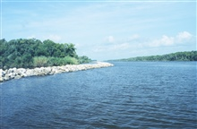 Rock dike along Intracoastal Waterway (GIWW).
