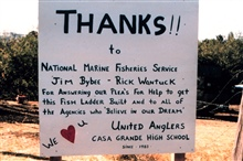 A sign constructed by the students thanks NOAA for its role in the constructionof the fish pools.