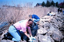 Penny Dalton, former Assistant Administrator for NOAA Fisheries, cleans trashand debris from the rip rap around the perimeter of the wetlands at Ft McHenry.
