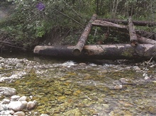 A picture of a completed log jam.