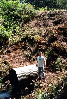 An image of the culvert that was removed and replaced. This old culvert blockedupstream migration of coho and chum salmon.
