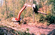 A crane places root wads in the channel that was constructed as a part of therestoration.