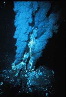 Black smoker at a mid-ocean ridge hydrothermal vent.