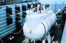 TRIESTE II launched in 1965, next version of the record deep diving sub.