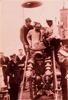 J. Peress' 1-atm dive suit, Tritonia, explored the Lusitania wreck in 1935.