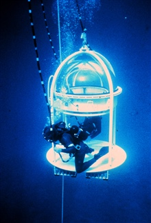 Clear dome in this bell allows scientists to record observations in midwater.