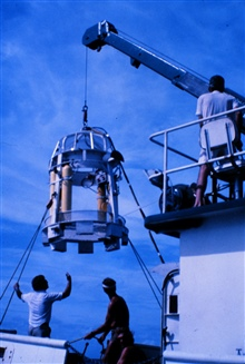 NURC at UNCW's dive bell deployed from the R/V Seahawk.