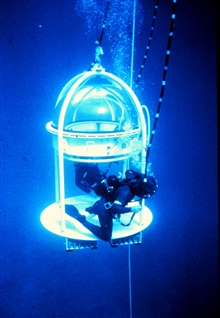 NURP dive bell used in the 1980s-- scientists prefer the freedom.of scuba.