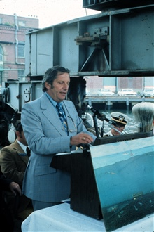Speaker at ceremony dedicating manned undersea habitat.