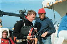 R. Clifford prepares A. Bryson for dive to Jeffries Ledge off Mass.