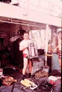 R. Cooper displays rebreather (electro-lung) during New England lobster project.