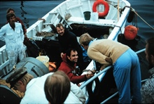 HELGOLAND aquanauts R. Cooper (red) and A. Waterfield (blk) at the surface.