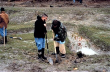 Two students dig a hole in preparation to plant potted wetland species at therestoration site.