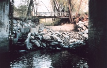 Roy's dam in the construction phase. This image shows the creation of the poolsthat were designed to facilitate fish passage. The dam still remains buthas been breached.