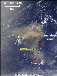 Pacific Ring of Fire Expedition.  Modis satellite image showing eruption atAnatahan Island in May 2003.