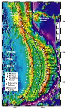 Pacific Ring of Fire Expedition. Map of Mariana Back Arc Spreading Centervolcanoes and recent volcanic activity.