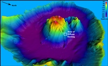 Pacific Ring of Fire Expedition. Three-dimensional view of the Maug Caldera (2 X vertical exagerration).  Data acquired with an EM300 sonar system and griddedat 10 meter interval.  Depth range from 241 to 25 meters (790-82 feet).  On this expedition