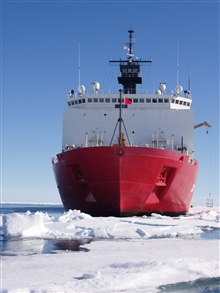 The bow of the 420-foot US Coast Guard Cutter Healy. Healy's hullhull is reinforced with up to 2-inch thick steel plates at critical areasto withstand the impact of breaking ice.