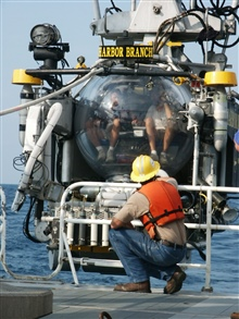 Deck-hand on the R/V SEWARD JOHNSON crouching in front of the JohnsonSea-Link II submersible as it is launched from the ship.