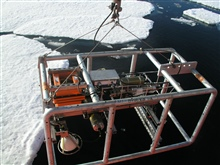 The photoplatform is deployed into icy waters.