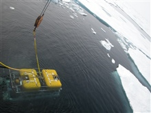The ROV begins its descent into the deep waters of the Canada Basin.