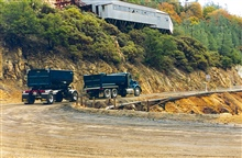Trucks (perhaps sludge carriers) on Iron Mountain Mine.