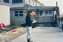 A worker records data about the quahog harvest transferred from Greenwich Bayinto the spawner sanctuaries.