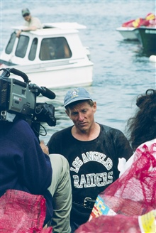 A local shellfisherman gives an interview in support of the restoration work.