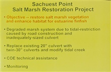 A slide that outlines the objectives of the restoration work at Sachuest PointSalt Marsh.
