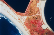 A color infrared aerial of Sachuest Marsh looking upstream and downstreamprior to restoration.